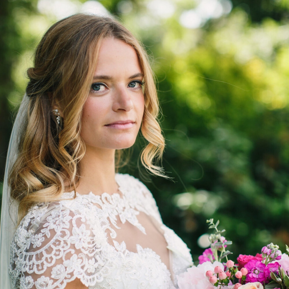 Softly curled half up boho bridal hairstyle - Hair and Makeup by Rosie Hart. Photography by Tom and Lizzie Redman. #makemebridal #bohobride #weddinghair #weddinghairstyles #halfuphair