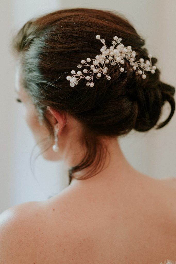 Bridal hair with a hair accessory