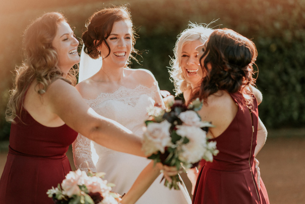 Bride with Bridesmaids. Real Wedding blog post. Makeup by Quelle Bester