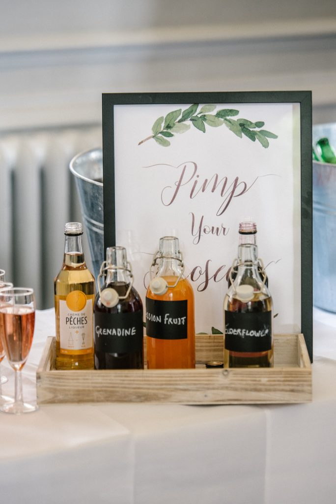 Prosecco and cool drinks ideas at a rustic wedding
