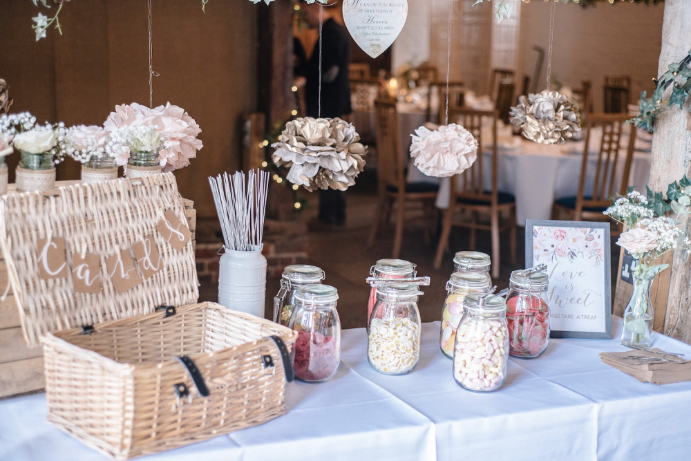 Wedding card basket, snack and hanging pom poms