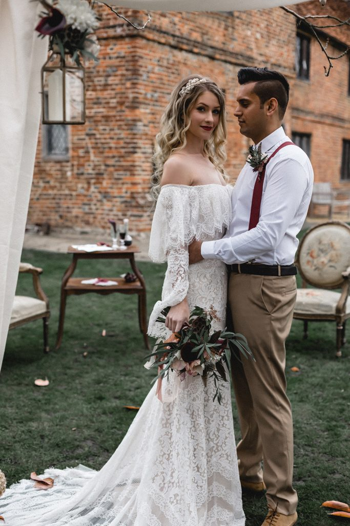 Boho bride styled shoot. Makeup by Oksana Williams