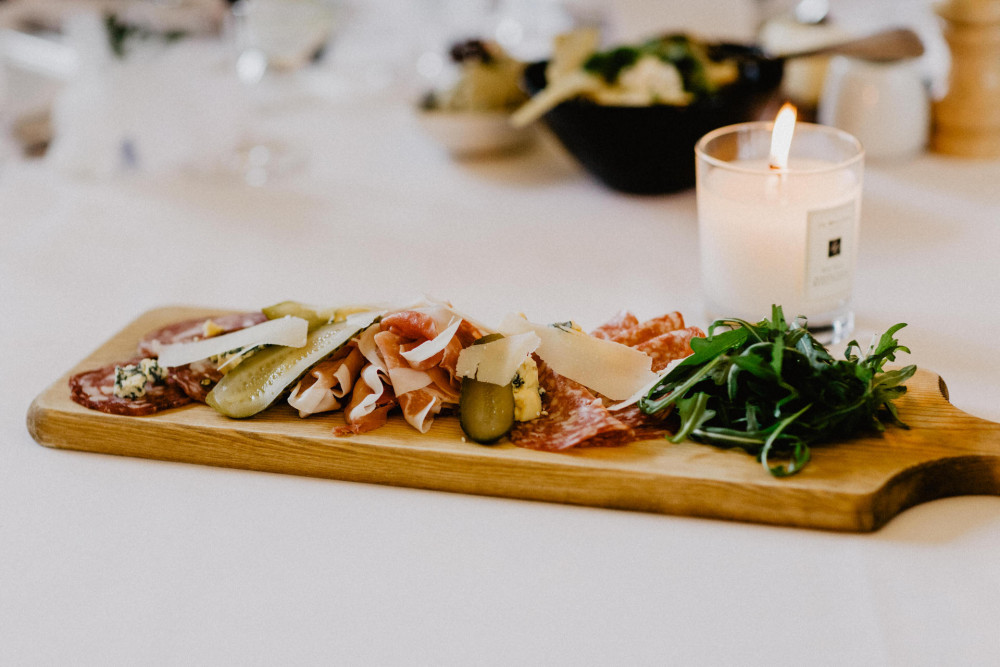 Wedding canapés with meat and cheese sharing board