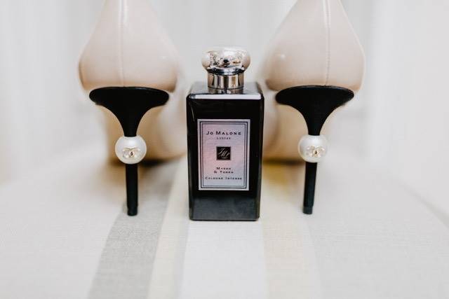 Wedding shoes with luxury perfume