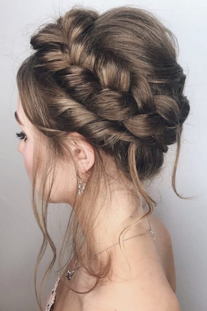 This cool Dutch halo crown braid was created by Make Me Bridal Pro Artist Oksana Williams. A perfect bridal hairstyle for young, edgy, modern brides