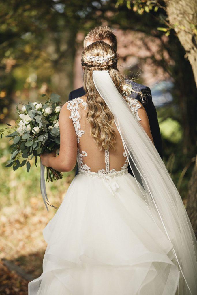 Beautiful bride wearing chapel length veil
