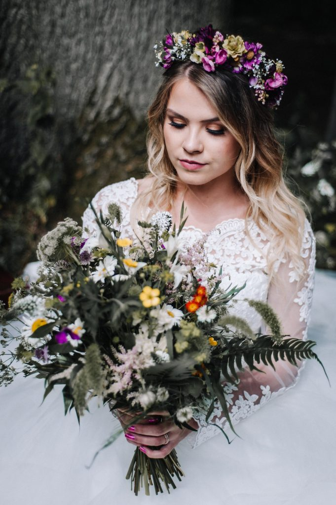 romantic-boho-bridal-makeup-and-hair-flower-crown