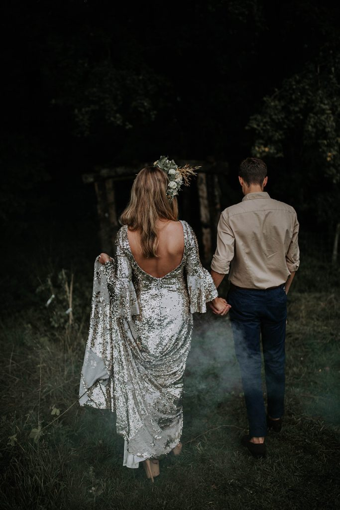 silver-sequin-boho-wedding-dress