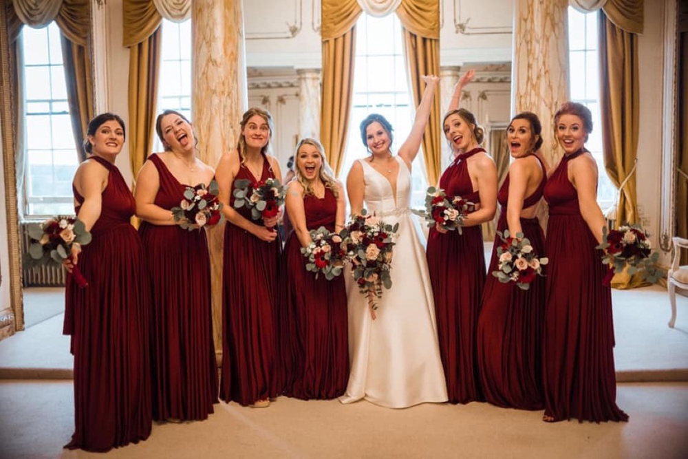 bridesmaids-in-burgundy-convertible-dresses