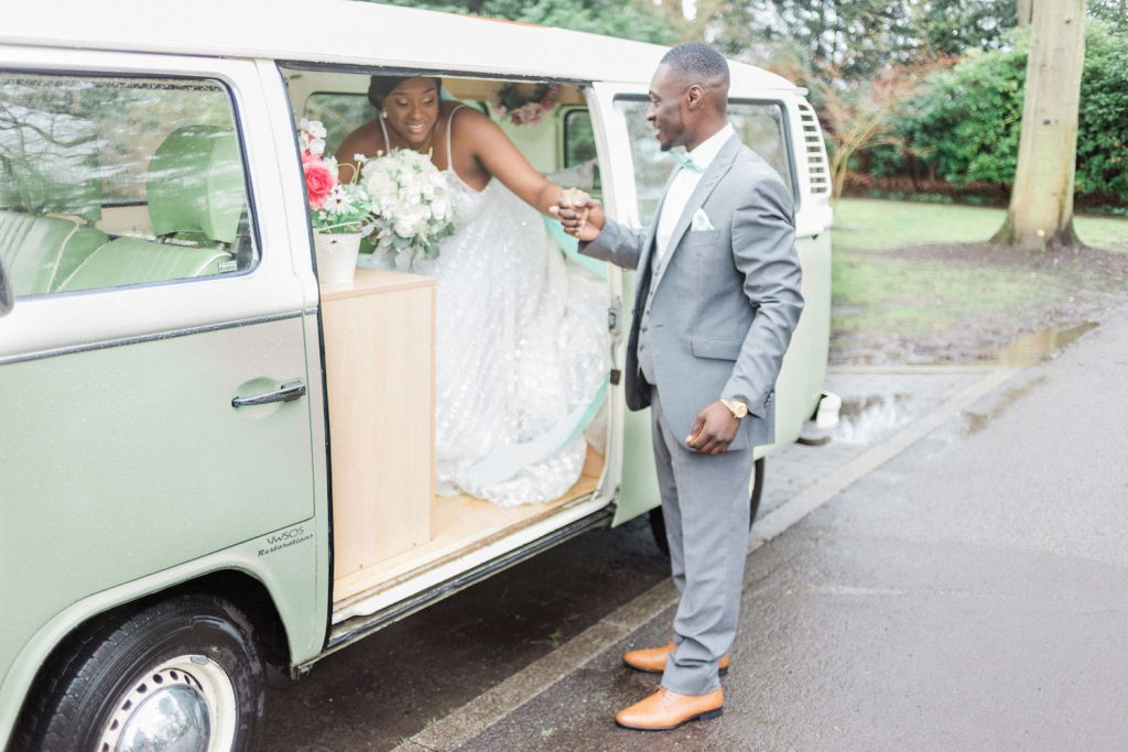 bride-and-groom-with-camper-van