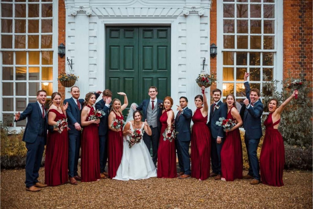 bridal-party-burgundy-navy-winter-wedding