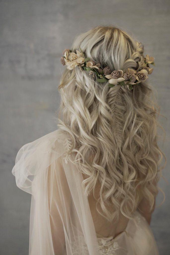 boho bridal hair with mini fishtail braid and soft curls