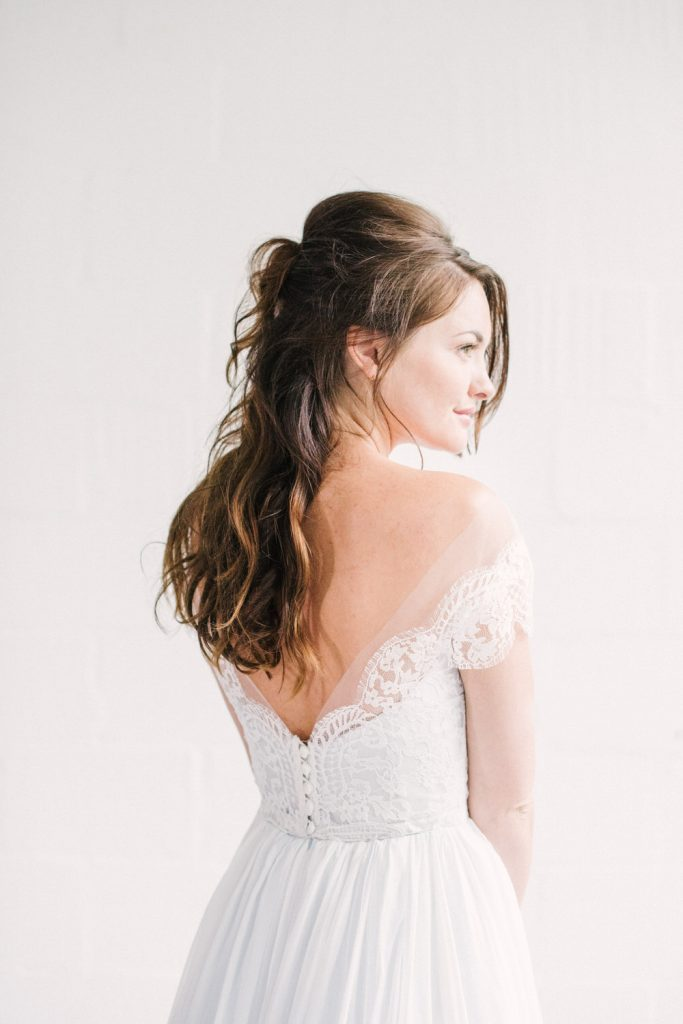 Half Up Half Down Wedding Hairstyle with Bump