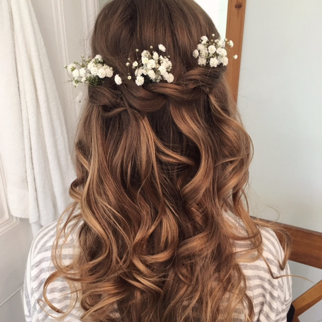 Half Up Half Down Wedding Hairstyle with Highlights