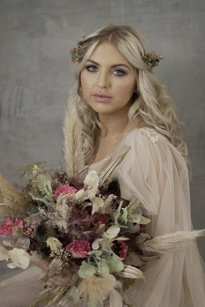 angelic bridal makeup with smoky eye and pink lip