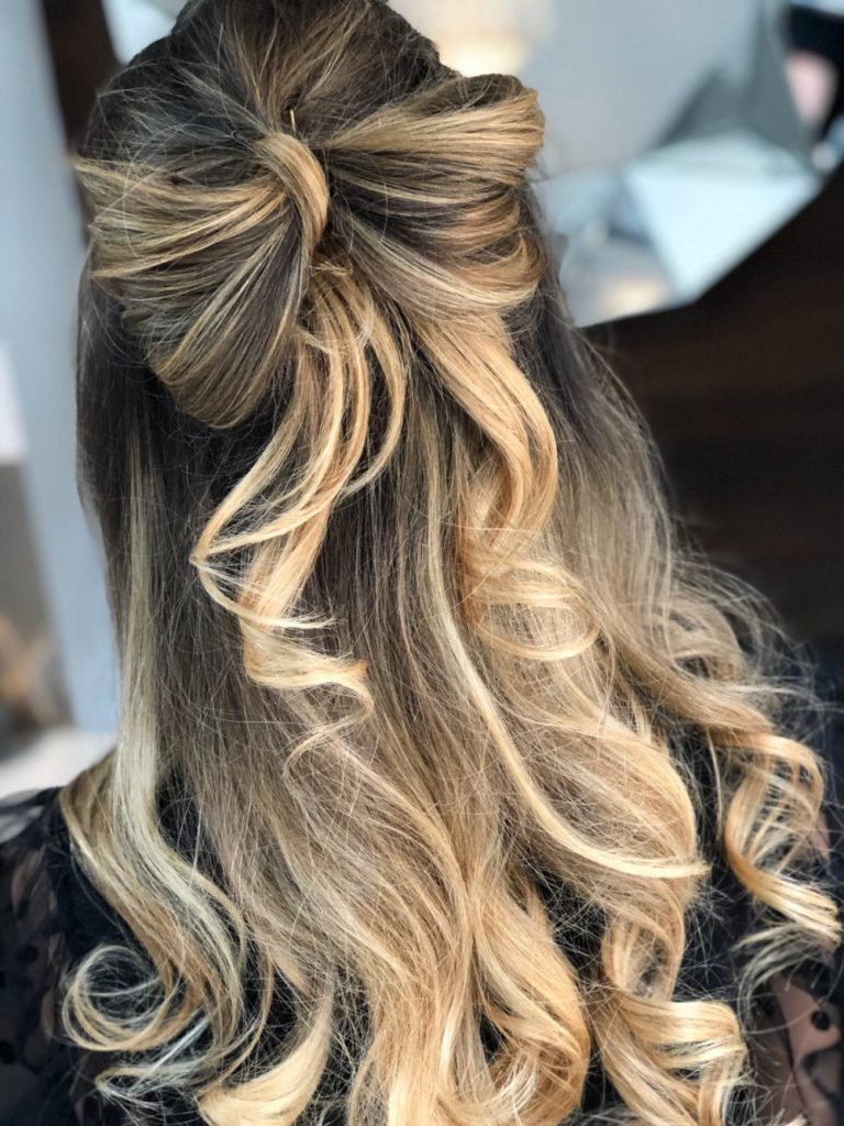 Bow Half Up Half Down Wedding Hairstyle