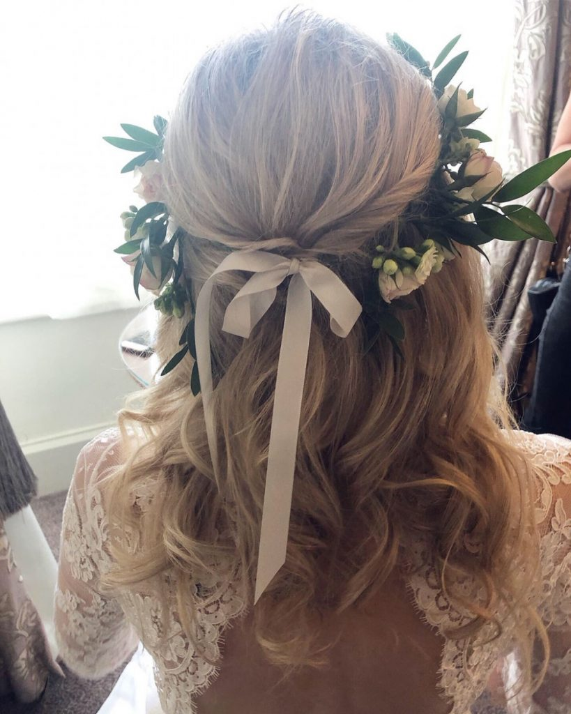 Half Up Half Down Wedding Hairstyle with Flower Crown