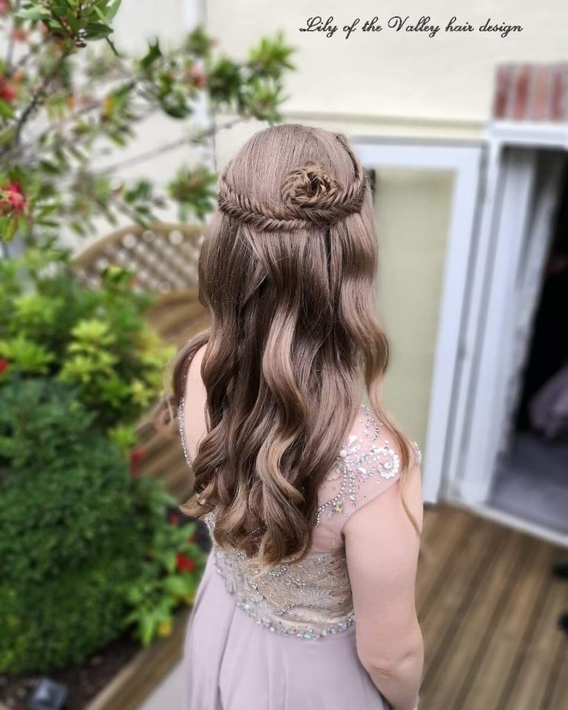 Half Up Half Down Wedding Hairstyle with Braided Bun