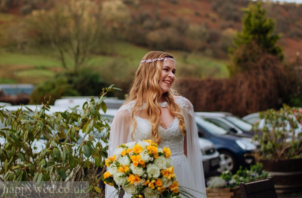 boho luxe bride with hair down