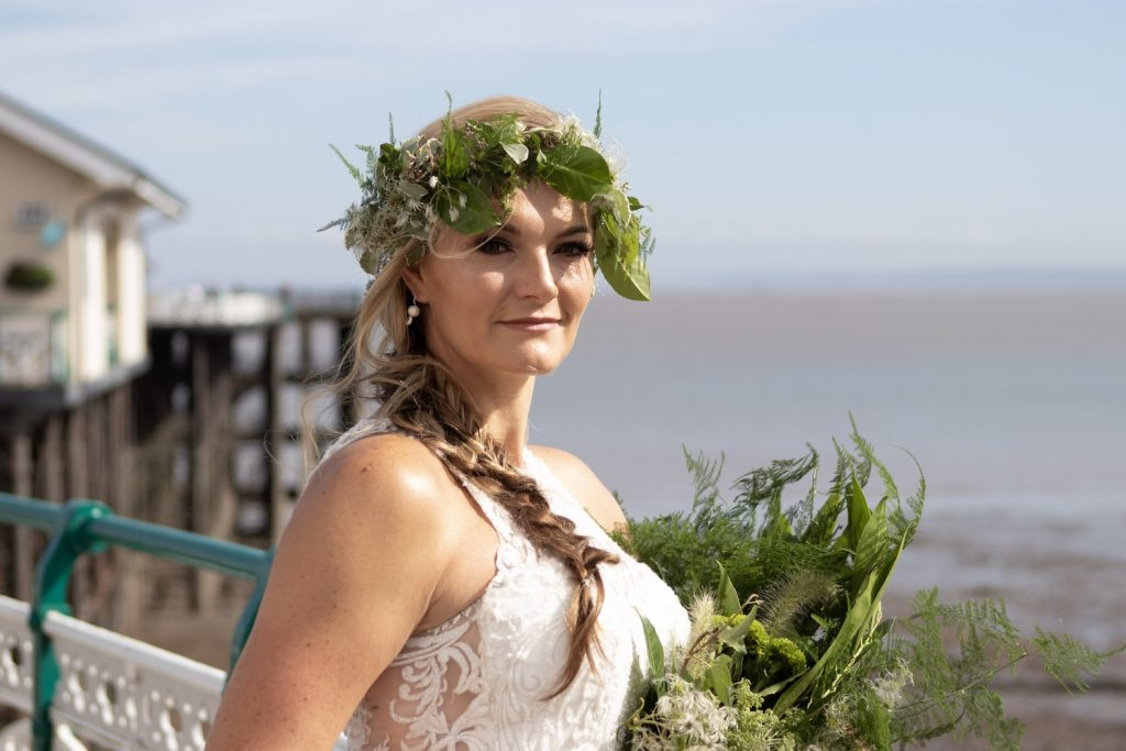 boho bride with greenery crown