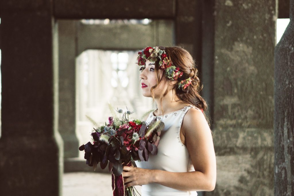 autumn bride with flower crown