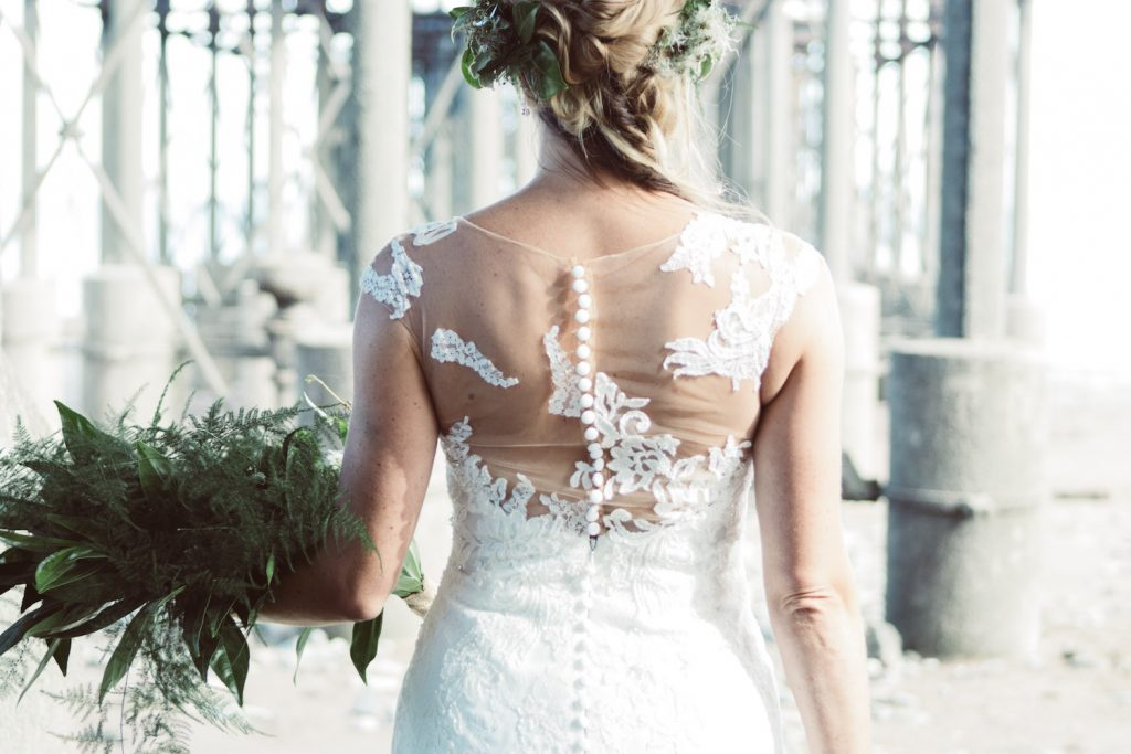 portrait back lace illusion wedding dress