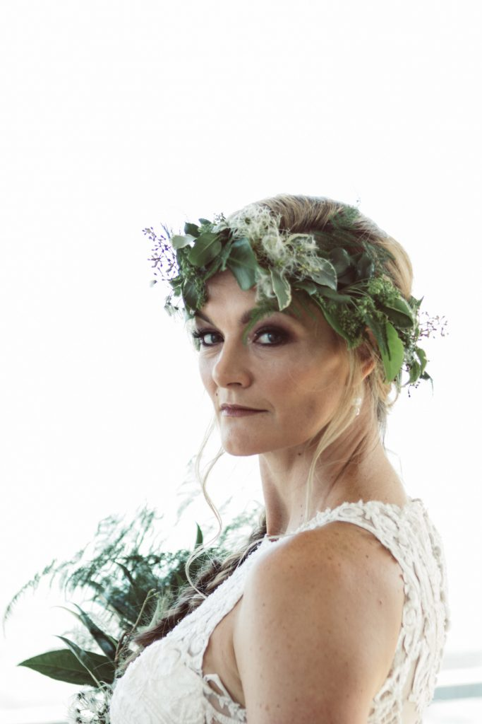 boho bridal hair with greenery garland