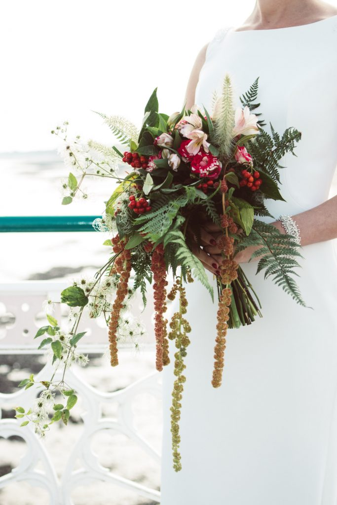 boho bridal bouquet with ferns