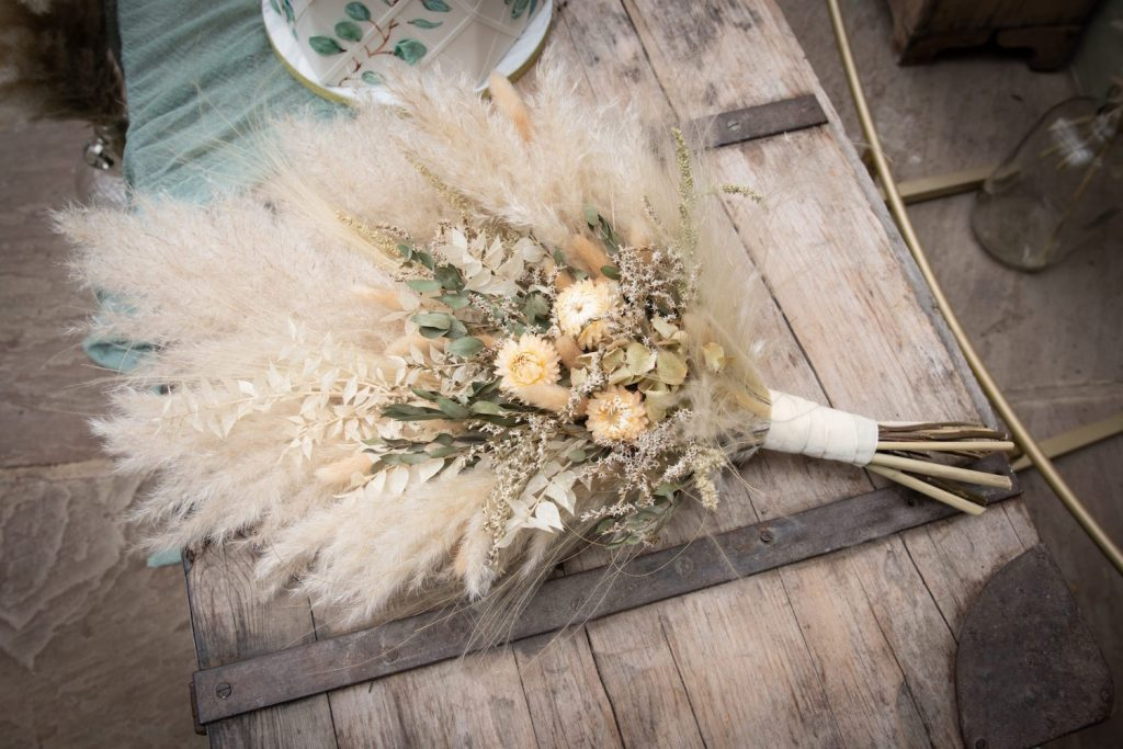 pampas grass and dried flower bouquet