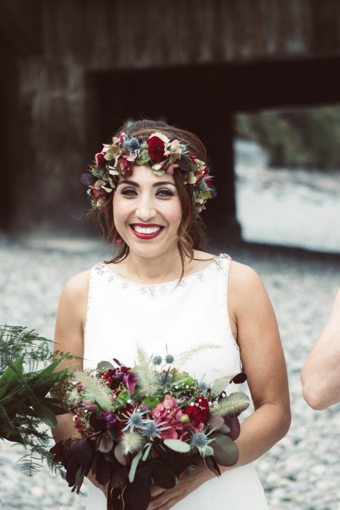 autumn boho bride with flower crown