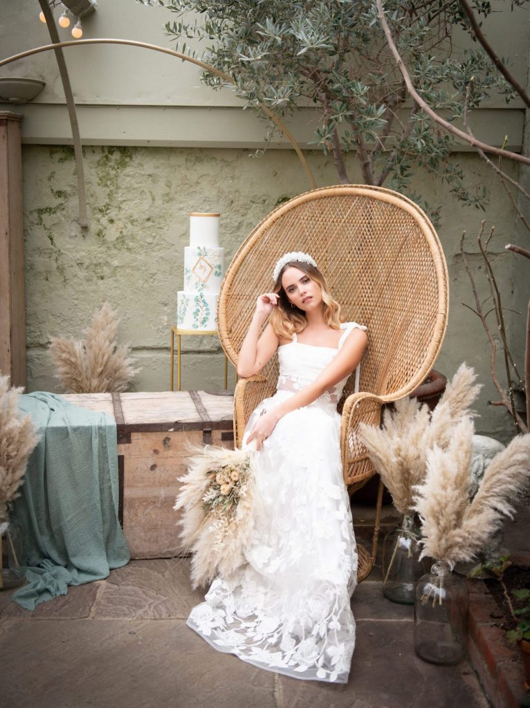 modern boho bridal hair and makeup