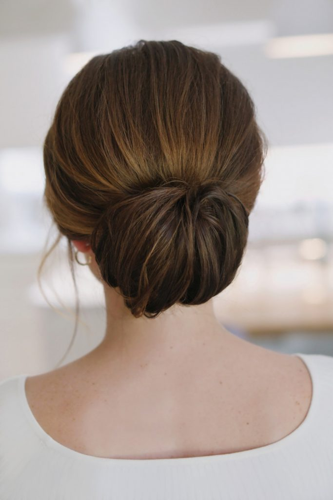 simple wedding hairstyle sleek low bun