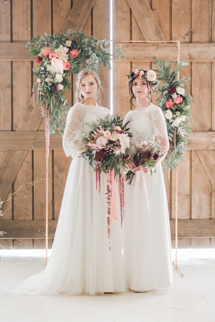two bohemian brides in lace bridal separates