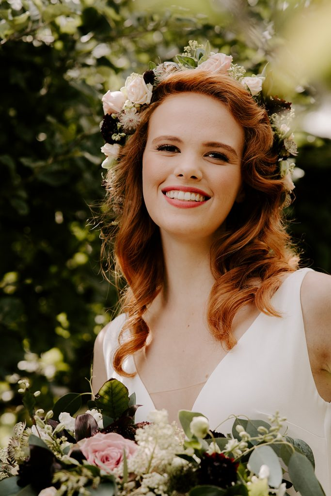 English rose bride with vintage waves and floral crown