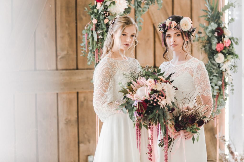 two piece wedding dresses with lace top by E&W Couture