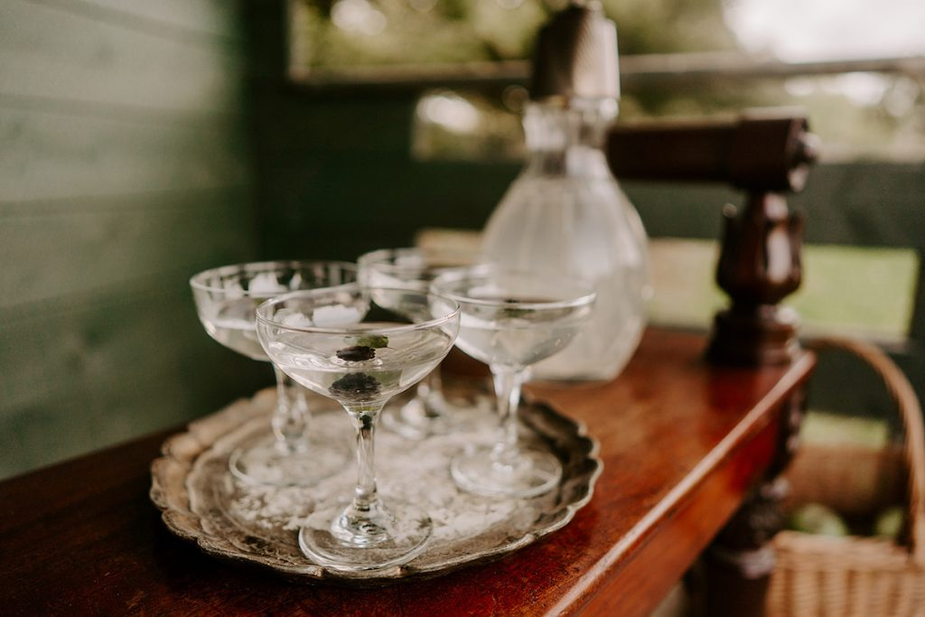 champagne coupes English country wedding inspiration