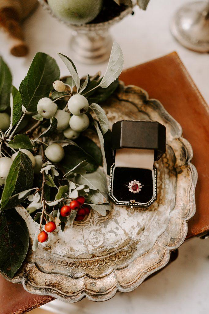 ruby wedding ring English country wedding inspiration