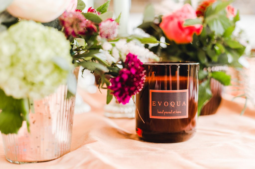 wedding centrepiece with boutique candle