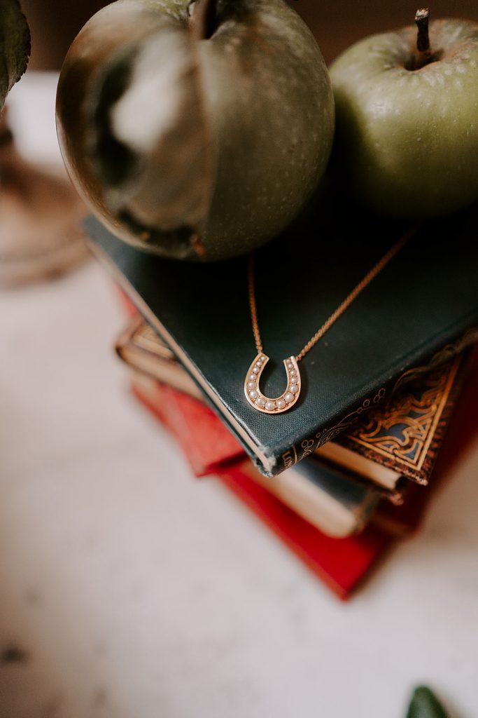 vintage horseshoe necklace English country wedding inspiration