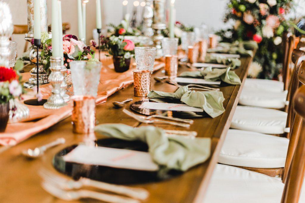 rustic bohemian luxe wedding table décor