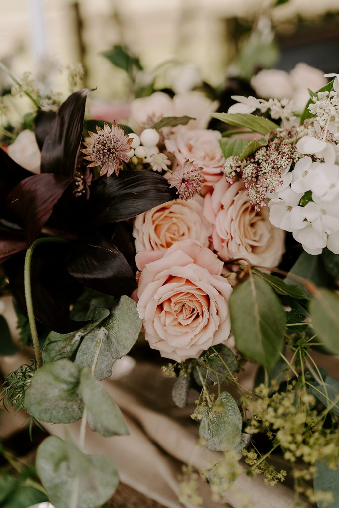 English orchard wedding florals