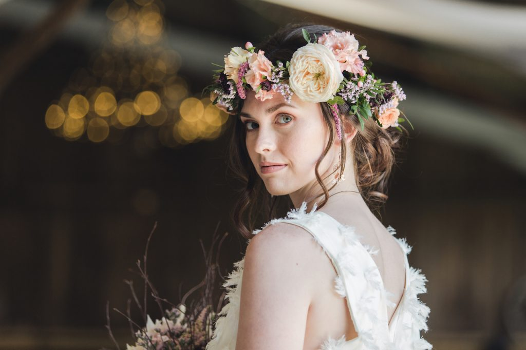 romantic updo with flower crown