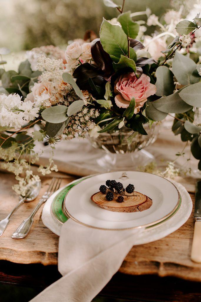 English orchard wedding table setting