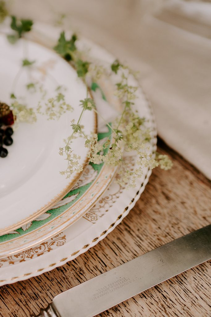 vintage crockery for English country wedding inspiration