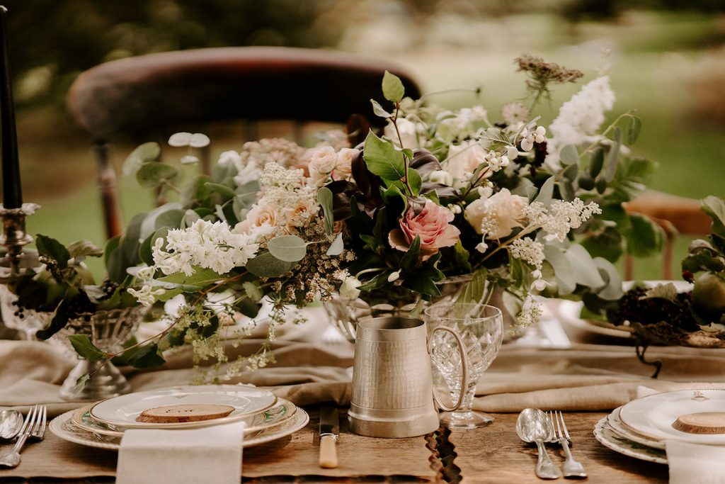 English country wedding inspiration centrepiece and table décor
