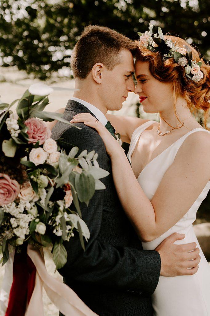 English orchard wedding bride and groom