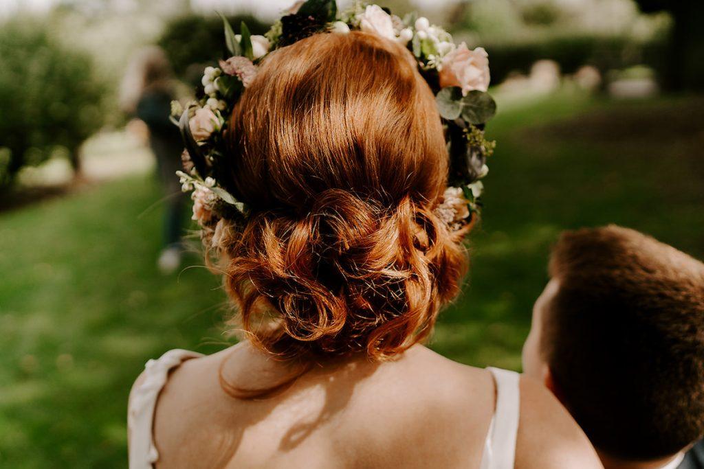 flower crown soft romantic updo