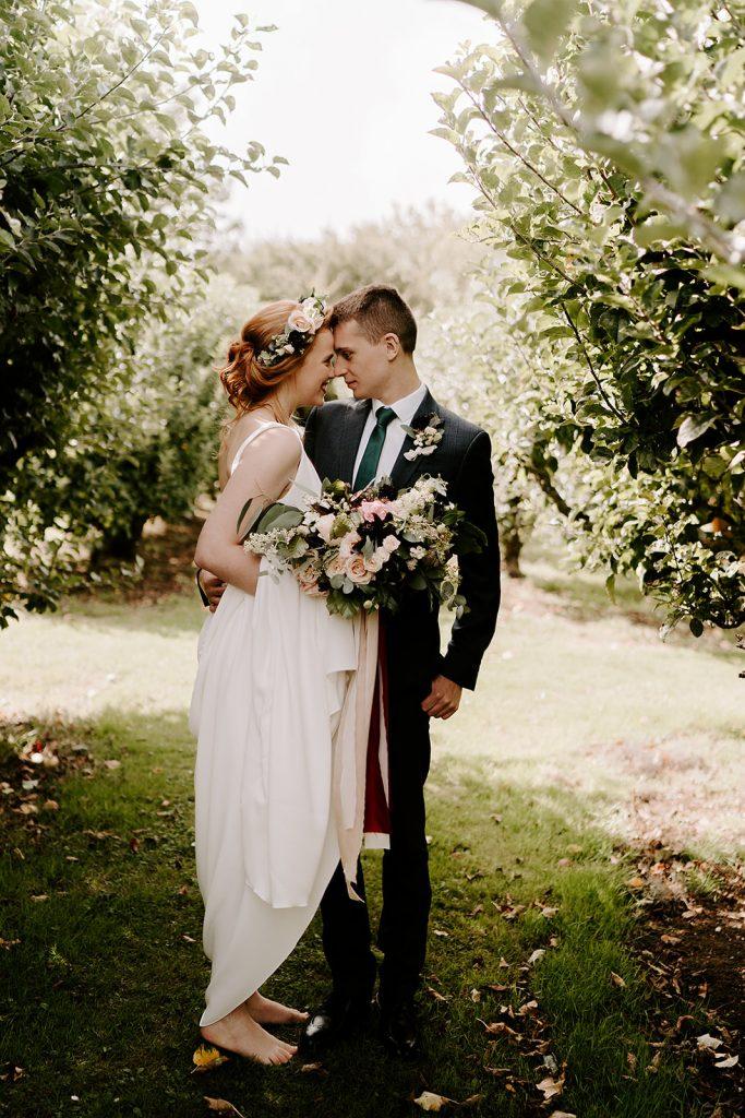 barefoot bride English orchard wedding
