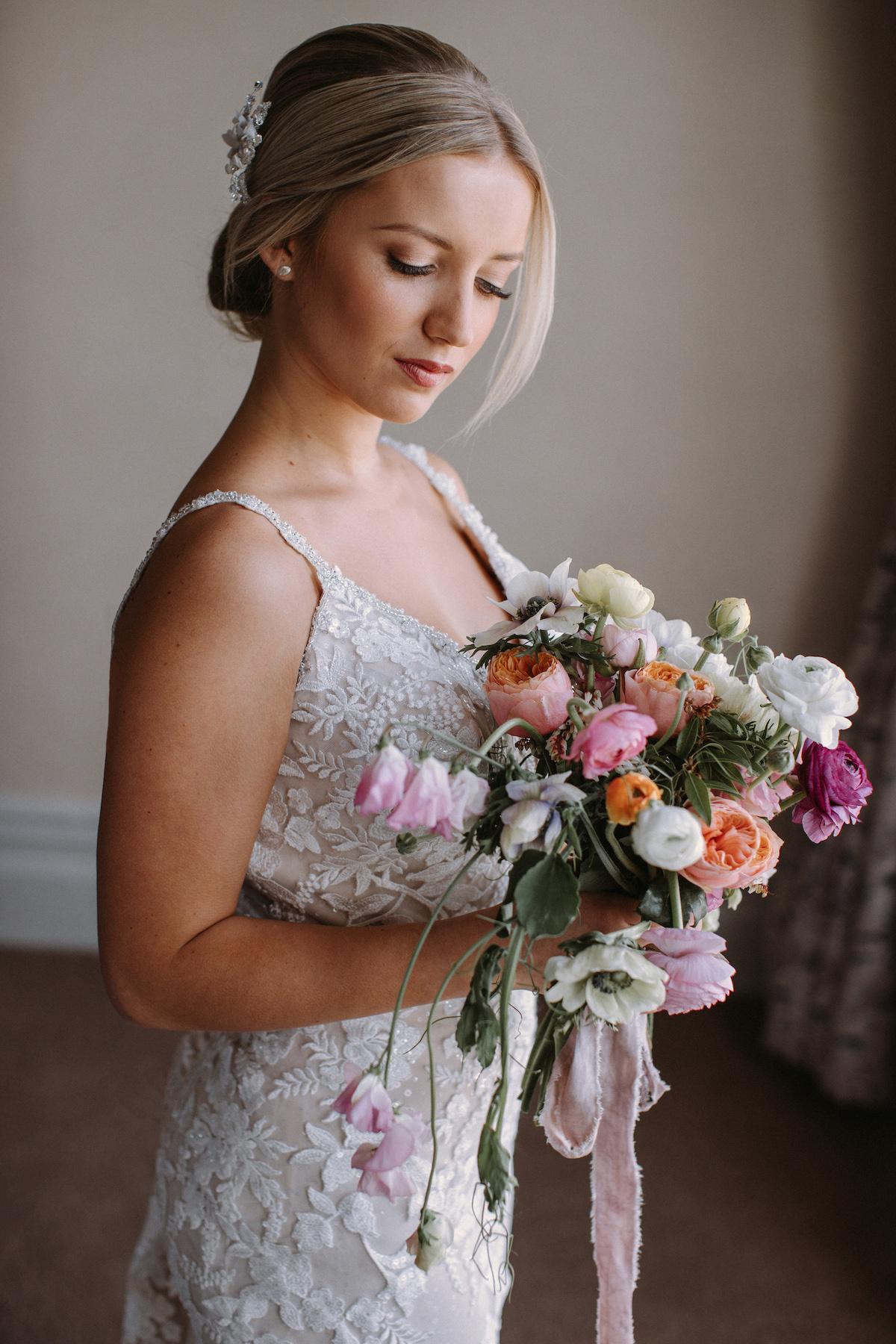 bridal dress with floral applique