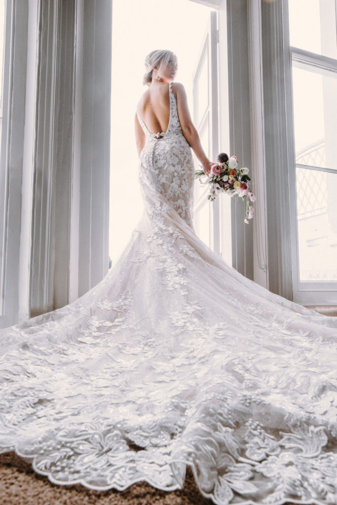 embroidered floral wedding dress with train